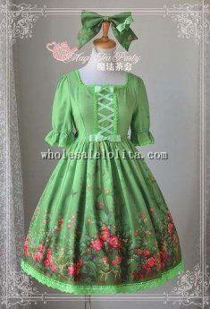 Magic Tea Party Fresh Green Garden Printing Chiffon OP Lolita with KC