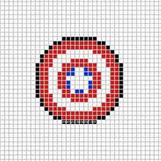 Captain America Shield Template by CreamyXD on DeviantArt Marvel Cross Stitch, Cross Stitch Games, Cross Stitch Boards, Diy Embroidery, Embroidery Patterns, Cross Stitch Patterns, Pixel Art, Loom Beading, Beading Patterns