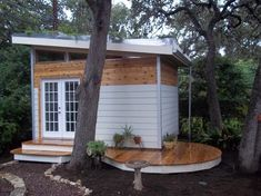 Studio with living roof contemporary garage and shed