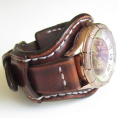 Vintage Mens Leather Watch, Antique Brown Rustic Leather Wrist Watch