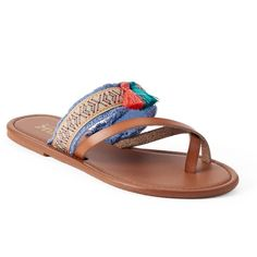 Mudd® Women's Festival Woven Tassel Flip-Flops ($13) ❤ liked on Polyvore featuring shoes, sandals, flip flops, brown over, brown braided sandals, toe loop sandals, brown slip on shoes, slip-on shoes and brown shoes