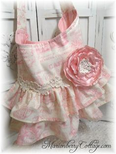 French Pink Toile tea time double ruffle handbag