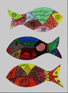 Peixes com grafismos indígenas