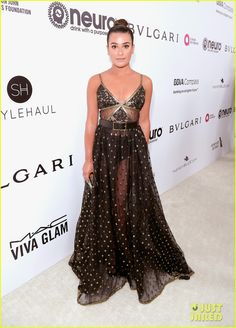 : Lea Michele looks stunning as she arrives at the Elton John AIDS Foundation's Oscar Party on Sunday night (February 26) at the City of West Hollywood Park