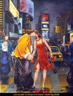 Lise Lacaille original oil painting on canvas #liselacaille #art #artist #canadianartist #quebecartist #fineart #figurativeart #originalpainting #oilpainting #CanadianArt #couple #kissing #multiartltee #balcondart