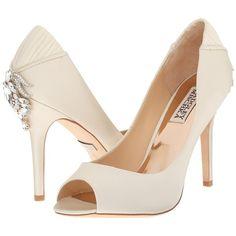 Badgley Mischka Cali (Ivory Satin/Silk) High Heels ($173) ❤ liked on Polyvore featuring shoes, pumps, beige, pointed toe platform pumps, high heel pumps, slip on shoes, platform pumps and satin pumps