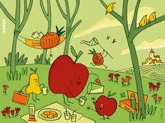 #Zumos refrescantes y unas buenísimas galletas para una mañana de #picnic veraniego que comparten piñas, peras y manzanas.