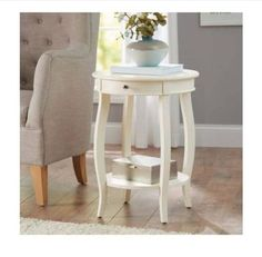 Small-Round-Accent-Table-Wood-Furniture-Nightstand-End-Sofa-Shelf-Bedside-Drawer