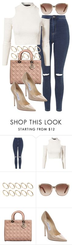 """Untitled #392"" by foreverdreamt ❤ liked on Polyvore featuring Topshop, MINKPINK, ASOS, Chloé, Christian Dior and Jimmy Choo"