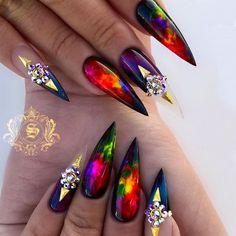 Unreal Galaxy Art For Stiletto Nails Best Stiletto Nails Designs Ideas Tip Crazy Nail Art, Crazy Nails, Fancy Nails, Cute Nails, Pretty Nails, Crazy Nail Designs, Beautiful Nail Designs, Nail Art Designs, Stiletto Nail Art