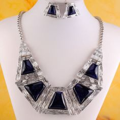 Silver GP Chain Trapezoid Style Blue Bib Statement Necklace Earrings Set X8703