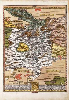 "Coloured ""Romweg"" map, 1500. ""South-up"" display, as all of Etzlaub's maps. /  mapa střední Evropy norimberského kartografa Erhard Etzlauba"