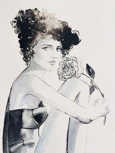 Fashion Watercolor Painting - Noir Collection - Figure - Portrait - Home decor wall art - Ballerina - Black Ballerina - Noir - Peony