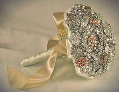 Champagne Crystal Brooch Bouquet  by Blue Petyl  by BluePetyl, $325.00