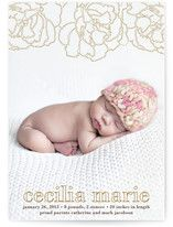 Floral Outline Birth Announcements
