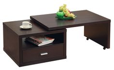 """Stanley Coffee Table DARK COCOA. This coffee table is way cool! The top portion is on wheels, letting you choose the shape and size. Just you at home? Maybe keep it closed. Having a few friends over? Extend the top out so you have a place to put your veggie platter from Trader's. The useful drawer features a sharp chrome handle accent.  48""""w x 24""""d x 16""""h for $188 from http://www.apt2b.com/stanley-coffee-table-dark-cocoa"""