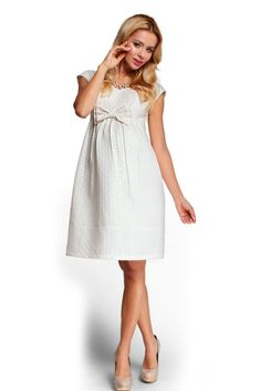 """Events Nude Maternity Dress, back zipper fastening, short sleeves, """"V"""" cleavage, inside lining, bow accessory, glitter details, nonelastic fabric"""