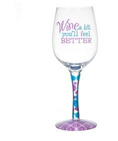 'Wine A Little' Novelty Wineglass