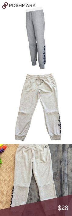 Sweat pants Adidas cuffed sweatpants. Gray with Navy Adidas logo. Slight pilling on inner thigh but otherwise in good condition. Size L adidas Pants Track Pants & Joggers