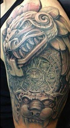 Tattoos News Pics Videos And Info Aztec Tattoos Sleeve, Aztec Tribal Tattoos, Aztec Tattoo Designs, Aztec Art, Chicano Tattoos, Body Art Tattoos, Tatoos, Marquesan Tattoos, 3d Tattoos
