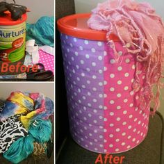 DIY baby scarf tug tin. Need: a clean and empty formula tin, a hot glue gun, a few bright scarves tied together, scissors and materials to decorate the outside of the tin.