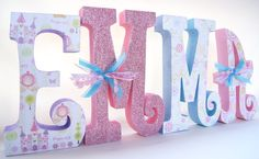 Baby Girl Letters Custom Name Wooden Nursery by thepatternbag