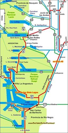 mapa 7 lagos Patagonia, Places To Visit, Travel, Lakes, Tourist Map, Art Crafts, Argentina Map, Transportation, Trips