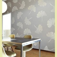A large motif ginkgo stencil in a subtle variation, love it! Global Glam Stencil Collection by Kim Myles