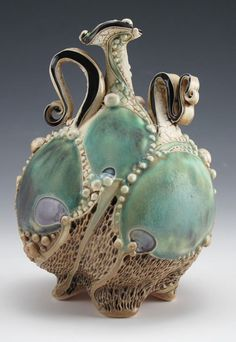 Carol Long Pottery Love the flowing shapes, teal color, pearl beading. Ceramic Pottery, Pottery Art, Ceramic Art, Pottery Ideas, Pottery Houses, Art Nouveau, The Magic Faraway Tree, Thursday Inspiration, Vases
