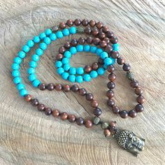 Brown mala necklace rosewood turquoise necklace blue boho