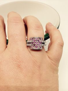 18k Pink Sapphire and Diamond Checkerboard ring by Appelblom