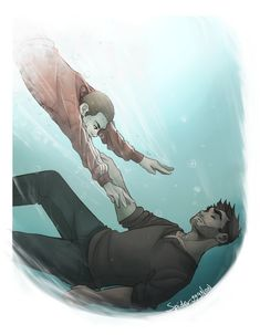 that scene is one of my fave scenes ever ; the colors, the fact that Stiles held derek above the surface for. The Pool Scene Stiles Teen Wolf, Teen Wolf Derek Hale, Teen Wolf Dylan, Spideypool, Teen Wolf Fan Art, Sterek Fanart, Wolf Love, Gay Art, Cute Gay