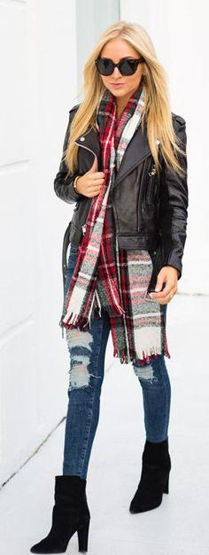street style. LOVE the plaid scarf!