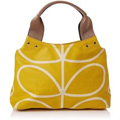 Orla Kiely Giant Linear Stem Small Classic Zip Shoulder Bag ($135) ❤ liked on Polyvore featuring bags, handbags, shoulder bags, zipper handbag, yellow purse, pattern purse, yellow handbag and orla kiely purse