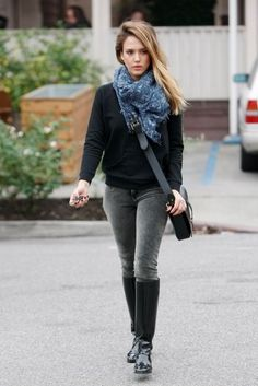 Dark Grey Jeans, Thick Black Jumper, Scarf, High Boots and a Cross Body Bag!