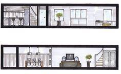 Doorsnede woning met uitbouw