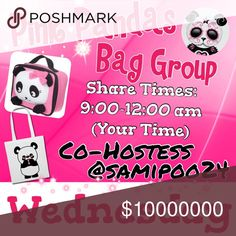 Wednesday 🐼Sign up with your tag @_____.                         🐼Share 10 bag items per person signed up.      🐼Sharing begins at 9am & sign out by 12pm.      🐼Share some, mark the last person shared.      🐼 If they don't have 10, share until 10 are met.    🐼 Co-Hostess is Dawn @samipoo24.                 🐼 we have sold thousands of bags and are       happy to have you! Go Pink Pandas! Please don't miss days and if so, please make them up. 2 strikes and you won't be allowed back. Ty…