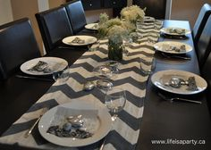 DIY Chevron Table Runner from painted drop cloth