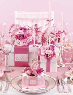 Stunning Pink Parisian wedding tablescape.