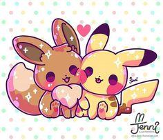 Pikachu é uma espécie fictícia pertencente à franquia de mídia Pokémon da Nintendo. Ele apareceu pela primeira vez no Japão em nos jogos eletrônicos Pokémon Red and Blue, e foi criado por Satoshi Tajiri. Пикачу и Иви друзья Doodles Kawaii, Chibi Kawaii, Cute Doodles, Anime Kawaii, Kawaii Art, Pikachu Pikachu, Anime Pokemon, Pokemon Eeveelutions, Cute Kawaii Animals