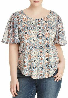 Lucky Brand Plus Mosaic-Print Keyhole Top Women - Plus - Bloomingdale's - Women's style: Patterns of sustainability Short Kurti Designs, Kurta Designs Women, Blouse Designs, Sleeves Designs For Dresses, Short Tops, Plus Size Blouses, Blouse Styles, Plus Size Outfits, Blouses For Women
