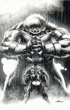"Wolverine and The Juggernaut size each other up. Art by Jimbo Salgado "" Just plain badass"" Marvel Villains, Marvel Comics Art, Marvel Comic Universe, Comics Universe, Marvel Heroes, Anime Comics, Marvel Comic Character, Comic Book Characters, Comic Book Heroes"