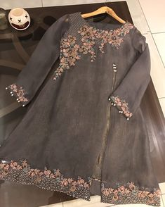 Sugary Spice in charcoal grey,colour for winter Pakistani Fancy Dresses, Party Wear Indian Dresses, Pakistani Fashion Party Wear, Designer Party Wear Dresses, Pakistani Wedding Outfits, Kurti Designs Party Wear, Pakistani Dress Design, Indian Designer Outfits, Bridal Dresses