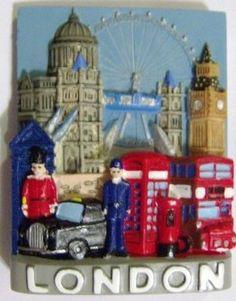 London Collage Fridge Magnet Souvenir Bus Taxi Cab Phone Box Post Box Big Ben Tower Bridge St Pauls Eye: Amazon.co.uk: Kitchen & Home