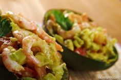 Luscious Grilled Shrimp Salad in an Avocado Shell with a Spiced Yogurt Dollop