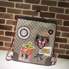 82d243c2d9b267 Gucci 473872 Courrier Soft GG Supreme Drawstring Backpack 2017 Backpack  2017, Backpack Bags, Drawstring
