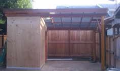 detached patio with shed attached