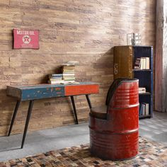 Funky Design Desk Made from Old Oil Drums Made to Perfection From English Furniture Brand Smithers of Stamford UK based for Excellent Shopping Experience Rustic Wood Furniture, Recycled Furniture, Metal Furniture, Vintage Furniture, Cool Furniture, Furniture Ideas, Furniture Price, Car Part Furniture, Office Furniture