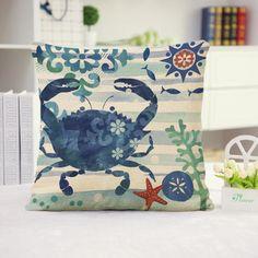 Marine Style Cotton Linen Cushion Cover Throw Waist Pillow Case Sofa Home Decor