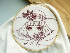 girl PDF Embroidery pattern/  redwork / / vintage lady / hand embroidery / via Etsy